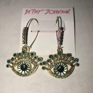 Betsey Johnson Evil Eye Hanging Earrings